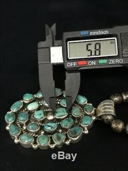 Vtg Old Pawn Navajo Pearl Necklace Sterling Silver Cluster Turquoise Pendant 60g
