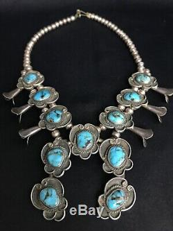 Vtg Old Pawn Navajo Squash Blossom Sterling Silver Turquoise Necklace 75g