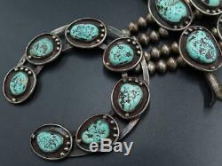 Vtg Old Pawn Navajo Sterling Kingman Turquoise Squash Blossom Necklace 276 Grams