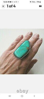 Vtg. Old Pawn Navajo Sterling Silver Ring with Huge Turquoise Stone - 2 1/4 Long