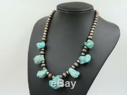 Vtg Old Sterling Navajo Pearl Bead Turquoise Nugget Heishi Necklace 17
