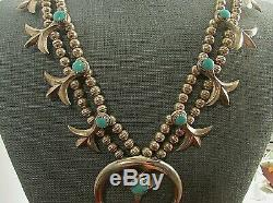 Vtg Southwest Cast Squash Blossom Necklace With Turquoise Sterling