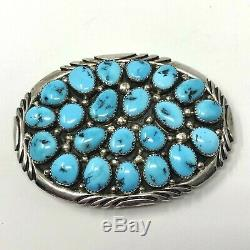 Vtg Sterling Silver Navajo Kingman Turquoise Belt Buckle Handmade 66.7 grams
