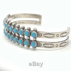 Vtg Sterling Zuni Bracelet Double Row Snake Eye Turquoise Bell Trading 23.2g
