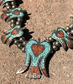 Vtg Turquoise Coral Thunderbird Peyote Sterling Silver Squash Blossom Necklace