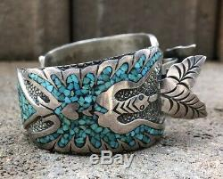 Vtg Zuni Turquoise Flush Inlay Sterling Silver Thunderbird Watch Cuff Bracelet