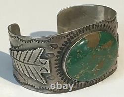 Wide Vintage 1930's Navajo Indian Silver Green Turquoise Arrowhead Cuff Bracelet