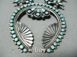 Women's Vintage Navajo Zuni Turquoise Sterling Silver Squash Blossom Necklace